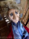 One-of-a-kind Art Doll Jackson by Souls and Gowns. Materials used: polymer clay, glass eyes, mohair, brass.