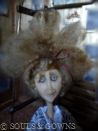 One-of-a-kind Doll Marla by Souls and Gowns. Materials used: polymer clay, glass eyes, mohair, brass.