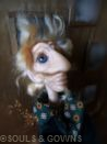 OOAK Art Doll Severin by Souls and Gowns. Materials used: polymer clay, glass eyes, mohair, brass.